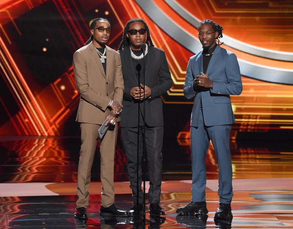 From left, Quavo, Takeoff and Offset, of Migos,