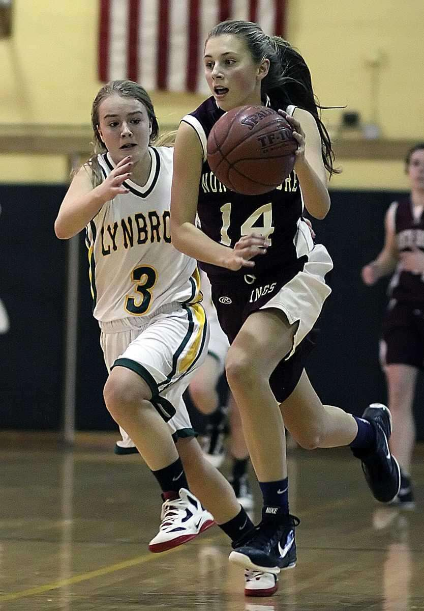 North Shore's Alexandra Cantwell breaks ahead of Lynbrook's