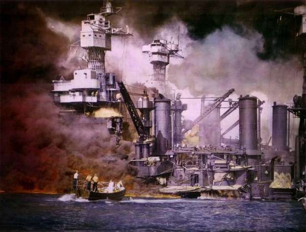 A colorized photo of the USS West Virginia