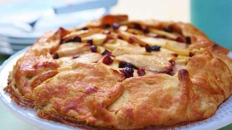 Apple galette is made from ready-to-bake pie-crust dough,