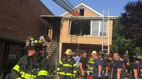 A fire in East Elmhurst, Queens, on Wednesday
