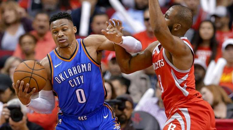Oklahoma City Thunder guard Russell Westbrook (0) is