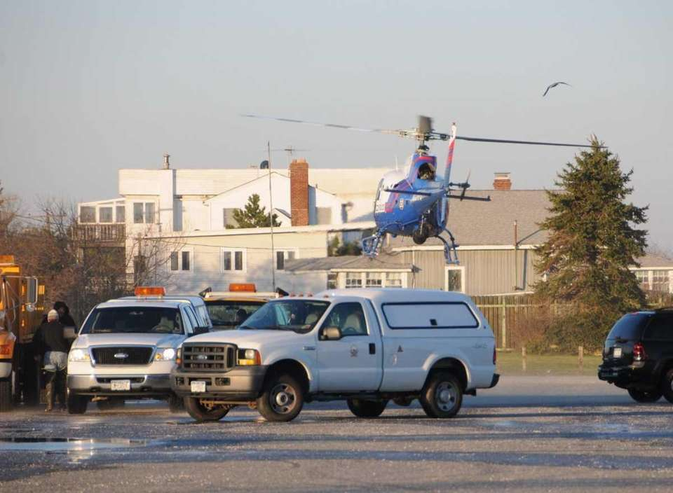 A Suffolk County Police Department helicopter takes off