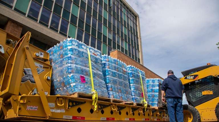 Bottled water was handed out to Long Beach