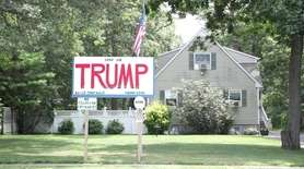 A pro-Trump and anti-media billboard that sits on