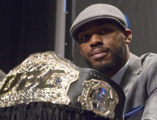 The UFC Light Heavyweight champion belt is displayed