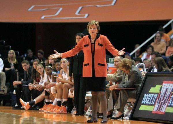 Tennessee head coach Pat Summitt reacts to a