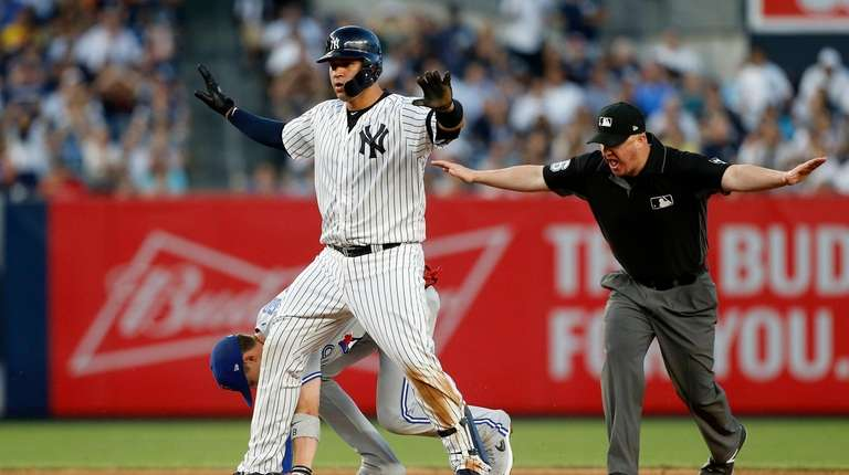 Gary Sanchez #24 of the Yankees is safe