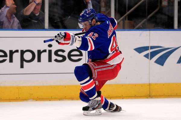 Artem Anisimov of the New York Rangers celebrates