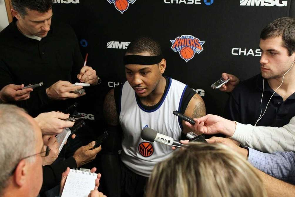 Carmelo Anthony of the New York Knicks speaks