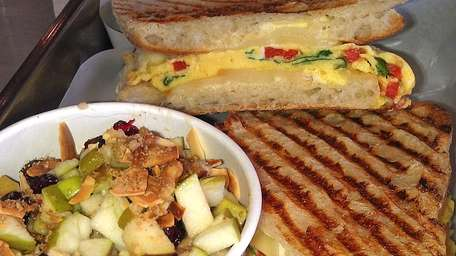 Tuscan panino with trail mix oatmeal at Roast