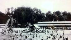 A beach pavilion on Lake Ronkonkoma in the