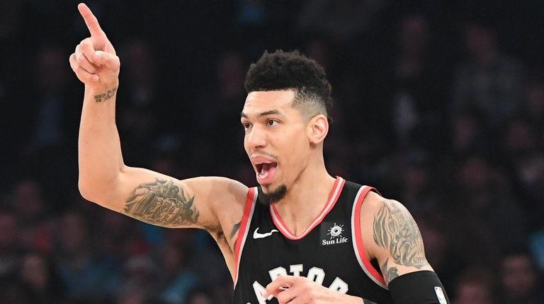 Toronto Raptors guard Danny Green reacts after he
