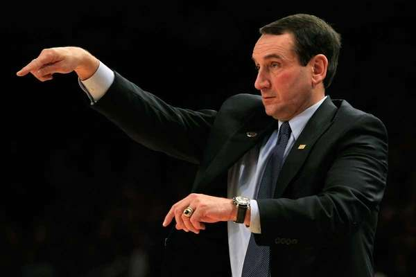 Head coach Mike Krzyzewski of the Duke Blue