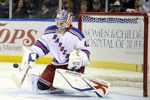 New York Rangers' goalie Martin Biron (43) makes
