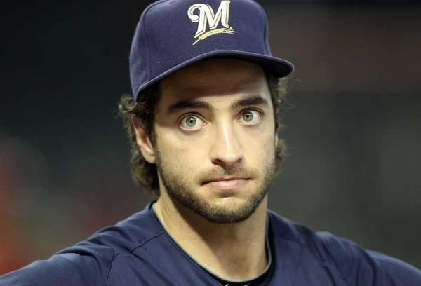 Ryan Braun of the Milwaukee Brewers warms up