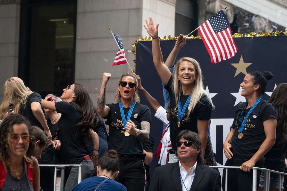 Members of U.S. women's soccer team make their