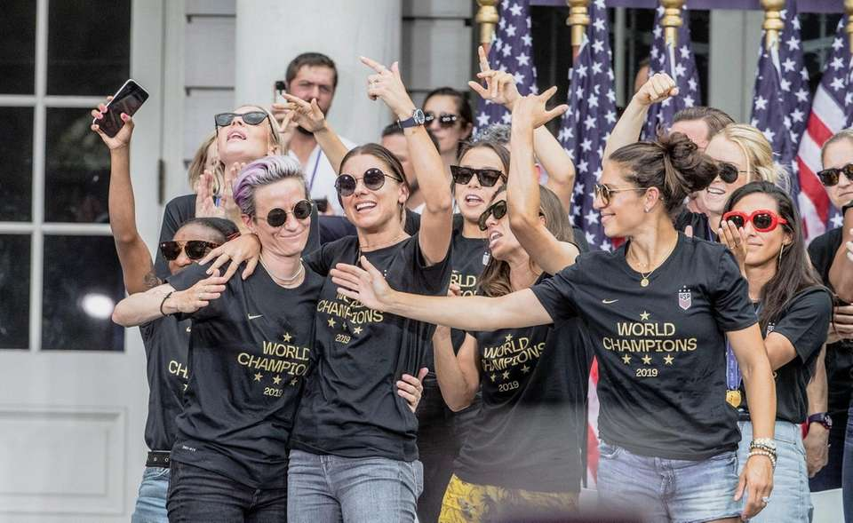 Members of the U.S. women's soccer team celebrate