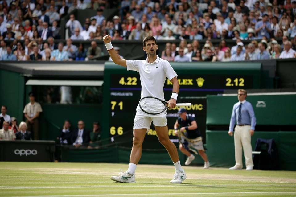 Serbia's Novak Djokovic celebrates winning a point against