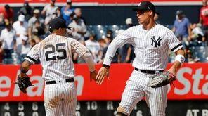 Yankees rightfielder Aaron Judge and second baseman Gleyber