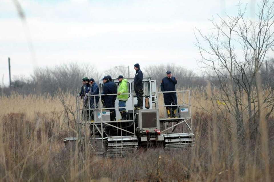 Investigators search for Shannan Gilbert at Oak Beach.