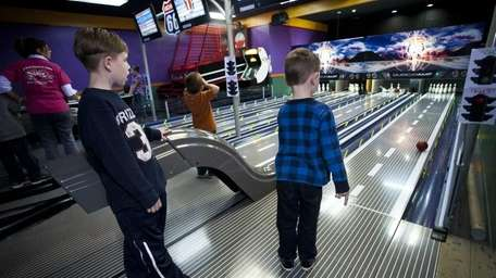 Young bowlers, from left, Colin Cleary, Kyle Schreyler