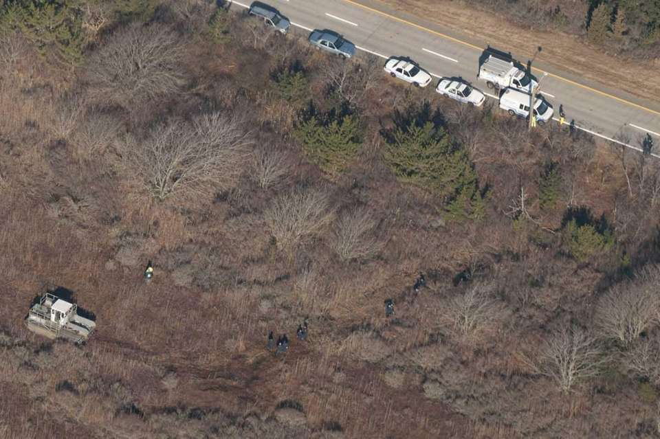 An aerial view of Oak Beach, where police