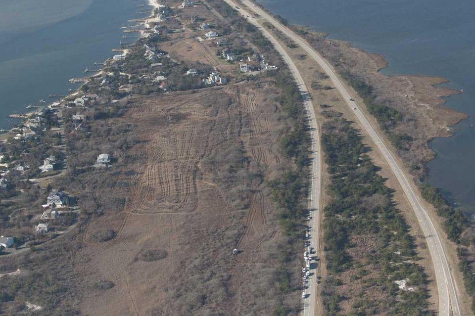 An aerial view of Oak Beach, where investigators