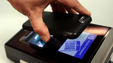 A barcode on a new Mobile Passport app