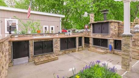The East Moriches home's outdoor kitchen.