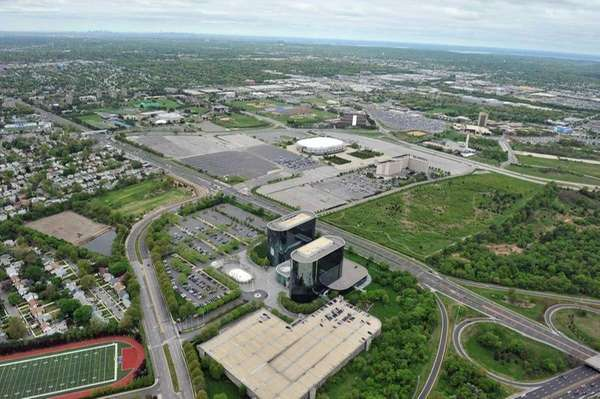 An aerial view of the Nassau Coliseum/Mitchell Field