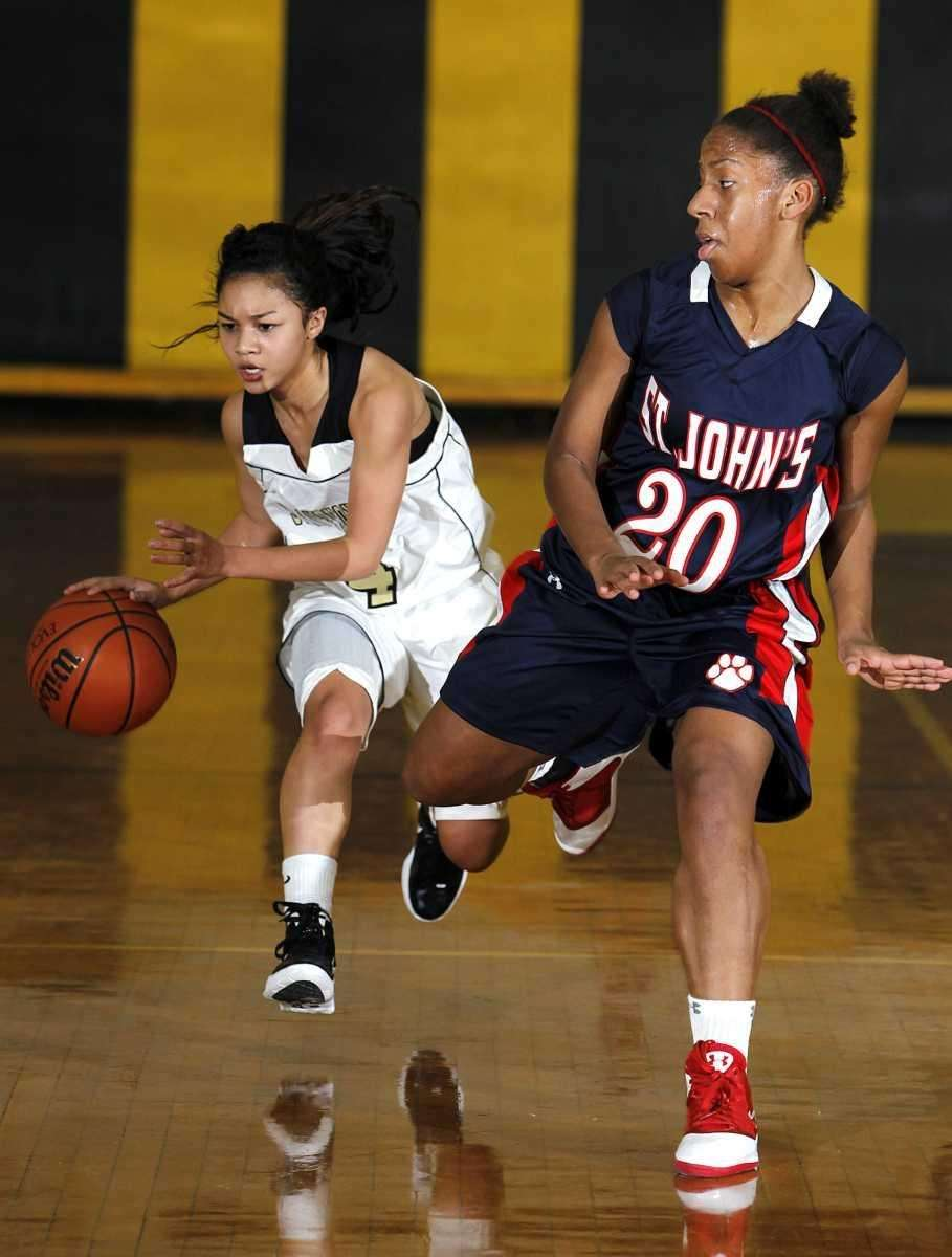 St. Anthony's point guard Tyla Parham (4) brings