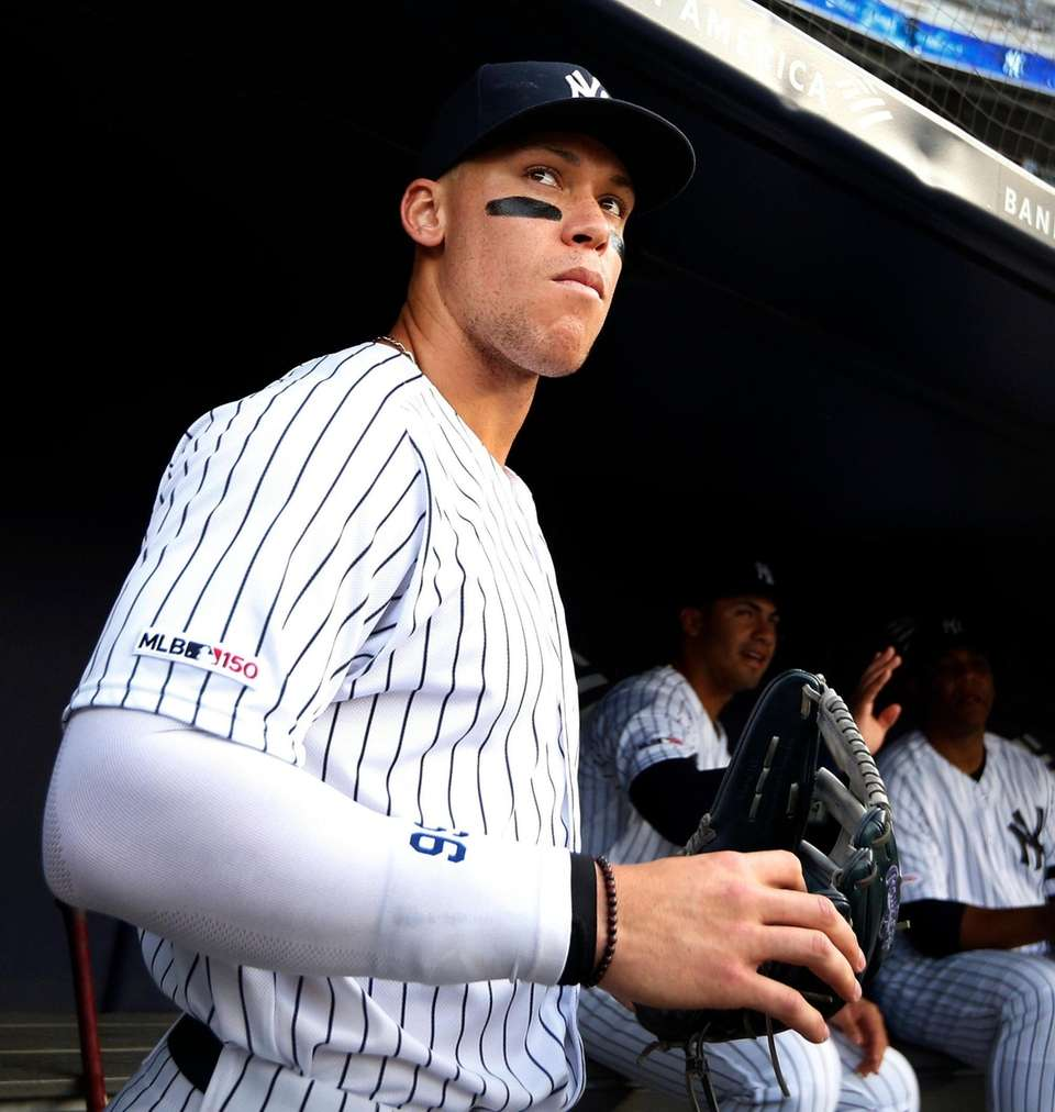 Aaron Judge of the Yankees looks on before