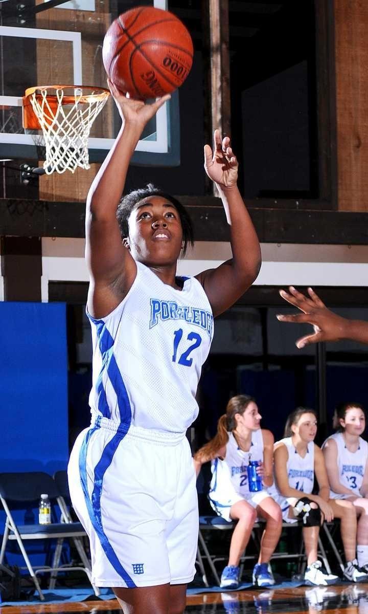 Portledge School #12 Alexa Lodenquai shoots a jumper