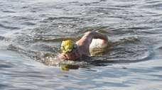 James Ferguson swims in the Great South Bay