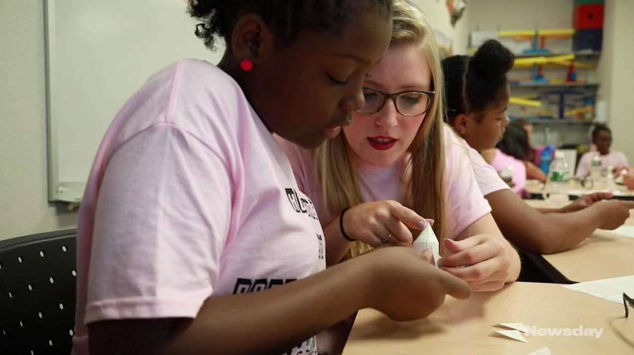 Students from Hofstra's STEM Program for Girls celebrated
