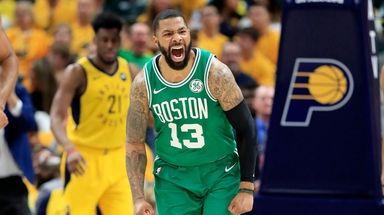 Marcus Morris #13 of the Boston Celtics celebrates