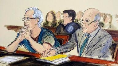 In this courtroom artist's sketch, defendant Jeffrey Epstein,
