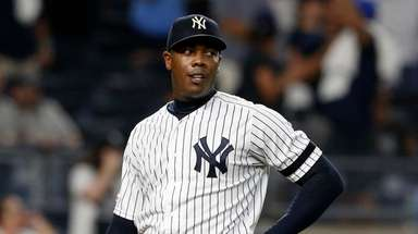 Aroldis Chapman #54 of thek Yankees looks on