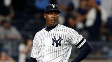 Aroldis Chapman #54 of thek Yankees looks on