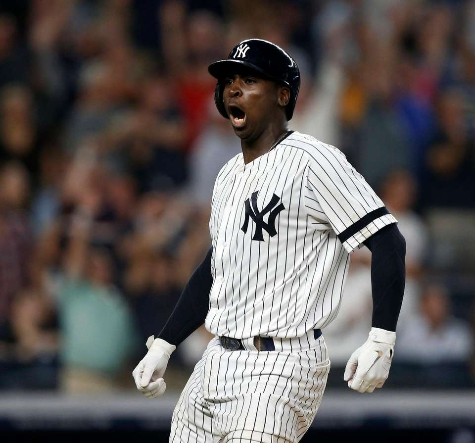 Yankees shortstop Didi Gregorius reacts after his eighth-inning