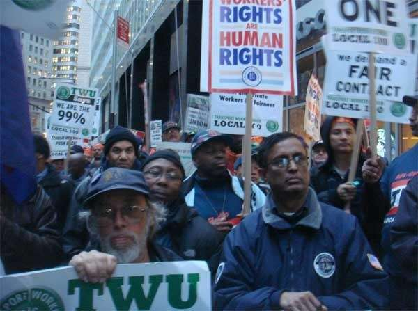 TWU members protested the MTA's quot;unfairquot; contract offer