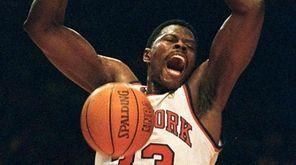 Knicks center Patrick Ewing celebrates a slam dunk
