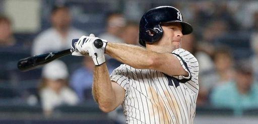 Brett Gardner of the Yankees bats during the