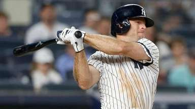 Brett Gardner of the Yankees bats during the