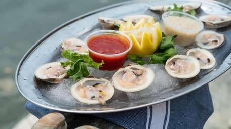 Littleneck clams served on the half shell at