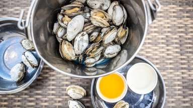 A bucket of steamer clams served with cheesy