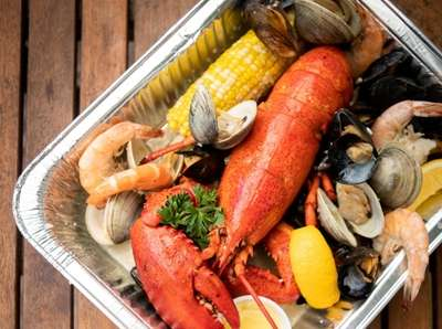The clam bake filled with lobster, little neck