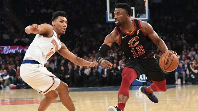 Cavaliers guard David Nwaba is defended by Knicks