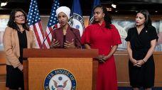 From left, U.S. Reps. Rashida Tlaib, D-Mich., Ilhan